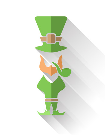 st  patty: Digitally generated Leprechaun with pipe and top hat vector