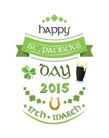 cerveza negra: Generada digitalmente St patricks vector de felicitaci�n del d�a Vectores