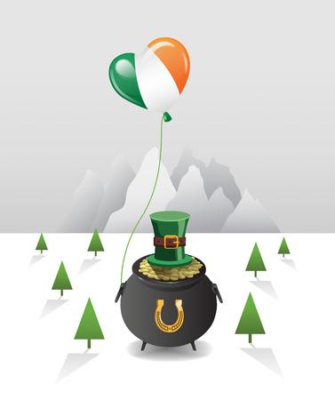 saint patty: Digitale generato St Patricks Day vettore con pentola d'oro