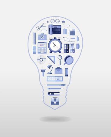 articulos de oficina: Bombilla generada digitalmente con art�culos de oficina de vectores