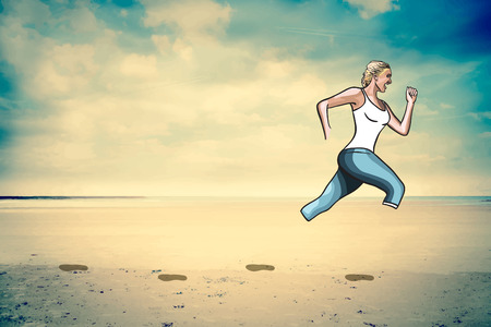 digitally generated: Digitally generated Woman jogging on beach vector