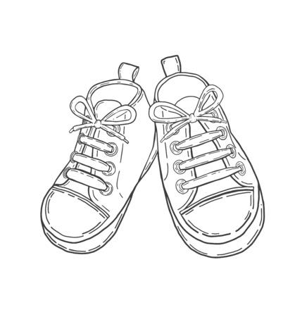 Digital erzeugte Hand gezeichnet Baby-Schuhe in Schwarz Vektor