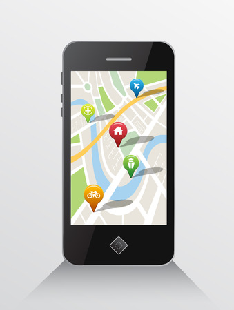 digitally generated: Digitally generated Map application on smartphone