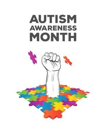 disorders: Digitally generated Autism awareness design vector