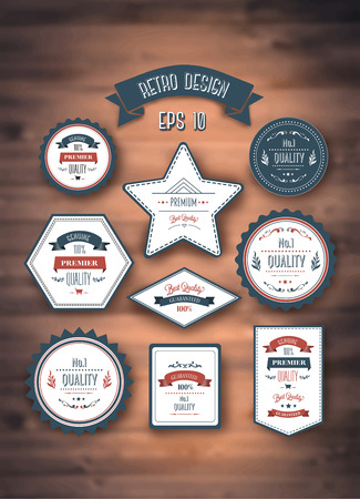 digitally generated: Digitally generated Retro style quality stamps vector