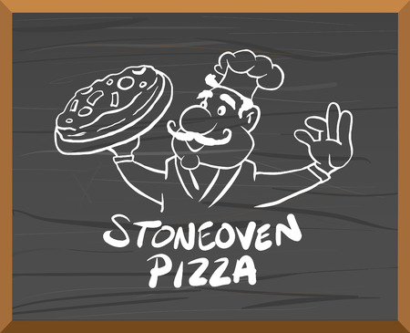 Digitally generated Pizza advertisement vector with character Vector