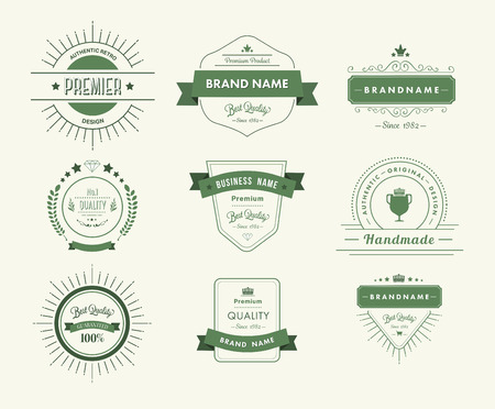premium quality: Digitally generated Green premium quality advertisement badges