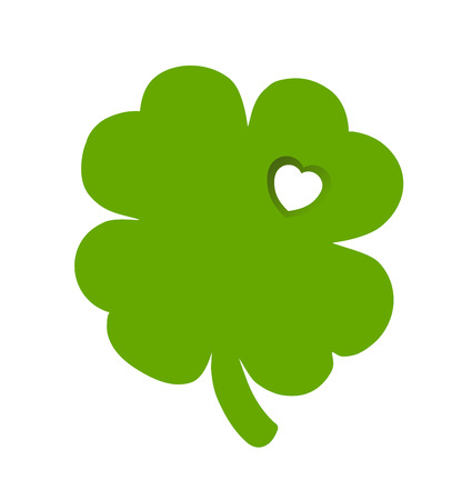 st  patty: Digitally generated Shamrock with heart cut out Illustration