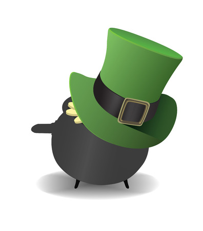 saint patty: Digitally generated Pot of gold wearing a top hat