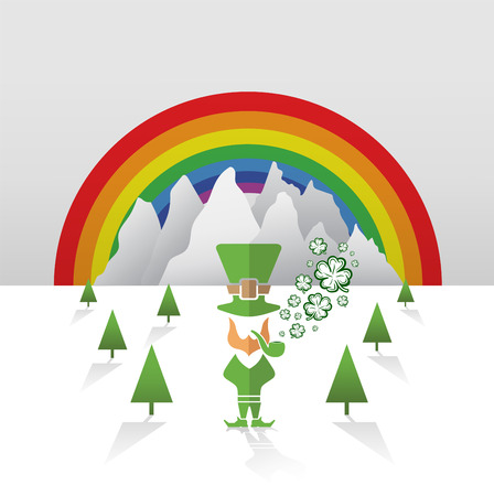 st  patty: Digitally generated Leprechaun with rainbow and shamrocks vector