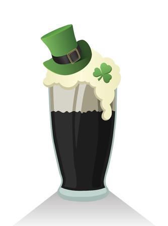 cerveza negra: Generada Digital D�a de los patricks del vector con pinta de cerveza negra