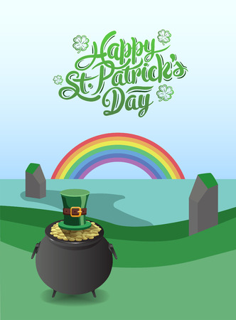 st  patty: Digitally generated St patricks day vector with pot of gold and rainbow Illustration