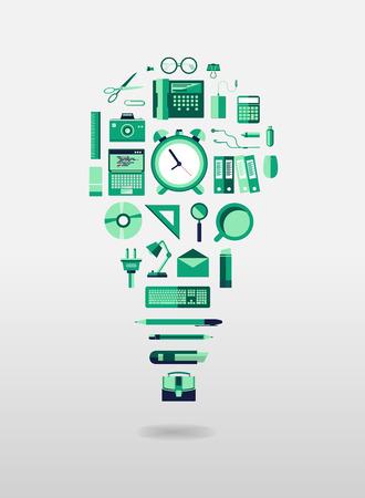 articulos oficina: Bombilla generada digitalmente con art�culos de oficina de vectores