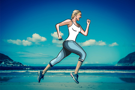 women working out: Digitally generated Woman jogging on beach vector