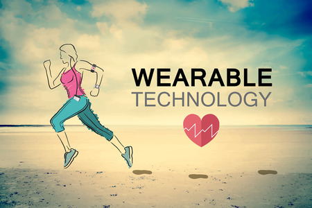 Digitally generated Wearable technology vector with jogging woman