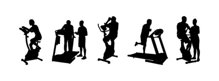 Digitally generated Silhouette of people working out vector Vectores
