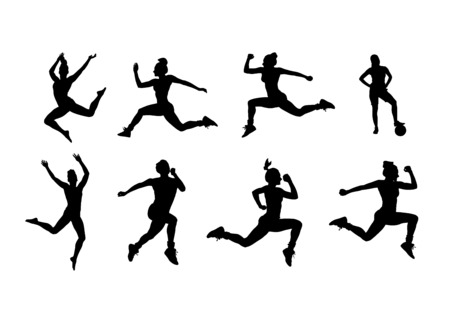 working out: Digitally generated Silhouette of people working out vector Illustration