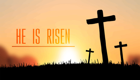 he: Digitally generated He is risen easter vector
