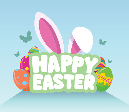 easter rabbit: Digitally generated Happy Easter greeting vector
