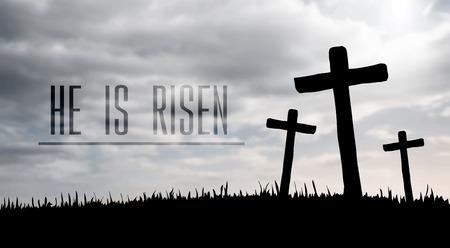 Digitally generated Jesus on the cross vector  イラスト・ベクター素材