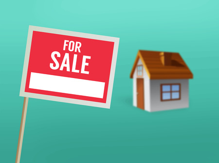 for sale sign: Digitally generated For sale sign and house vector Illustration