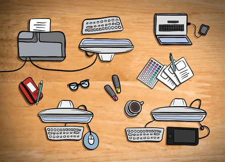 간접비: Digitally generated Overhead of office desks vector