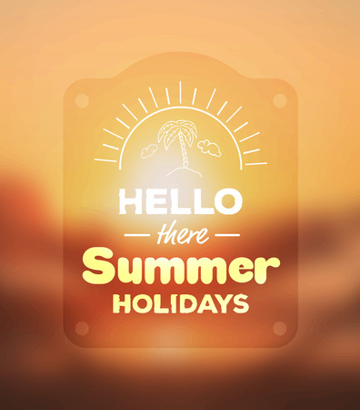 Digitally generated Hello there summer holidays vector Çizim