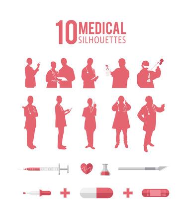 digitally: Digitally generated Ten medical silhouettes vector Illustration