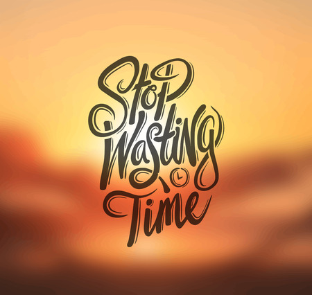 wasting: Digitally generated Stop wasting time vector