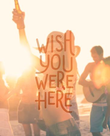 friends having fun: Digitally generated Wish you were here vector