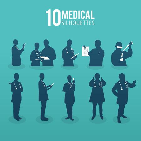 nurses: Generada digitalmente Diez siluetas vector m�dicos