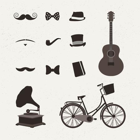 digitally: Digitally generated Vintage icon vectors