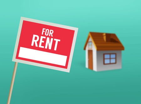 for rent sign: Digitally generated For rent sign and house vector
