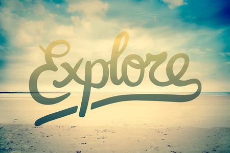 suggesting: Digitally generated Explore against beach scene vector Illustration