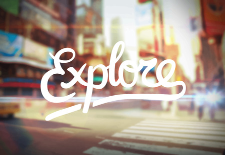digitally generated: Digitally generated Explore against city scene vector Illustration