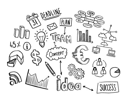Digitally generated Hand drawn business icons vector Vettoriali