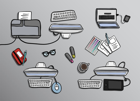 digitally generated: Digitally generated Overhead of office desks vector