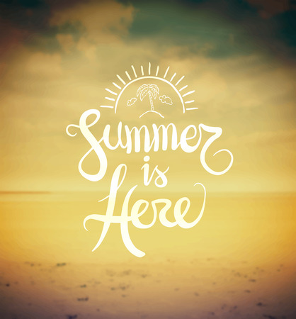 here: Digitally generated Summer is here vector