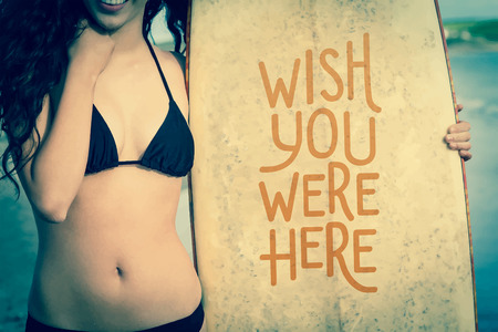 bikini top: Digitally generated Wish you were here vector