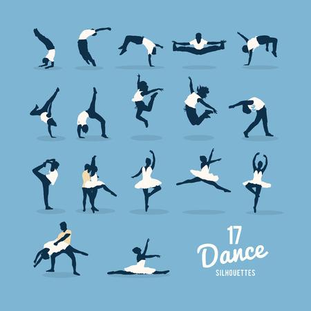 computer dancing: Digitally generated Seventeen dance silhouettes vector