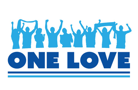 crowd cheering: Digitally generated One love with cheering crowd vector