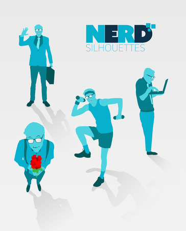 nerdy: Digitally generated Nerd silhouettes vector Illustration