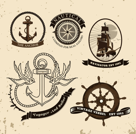 sparrow bird: Digitally generated Vintage style nautical theme vector