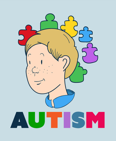 digitally: Digitally generated Autism vector with smiling boy