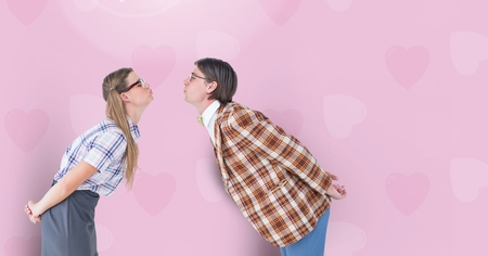 together with long tie: Digital composite of loving couple on graphic background Stock Photo