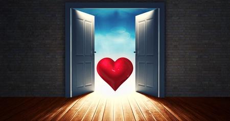 Digital erzeugtes Bild der offenen Tür zum Himmel mit roter Herzform Standard-Bild