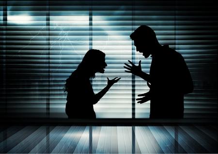 Digital composite of loving couple on graphic background Standard-Bild