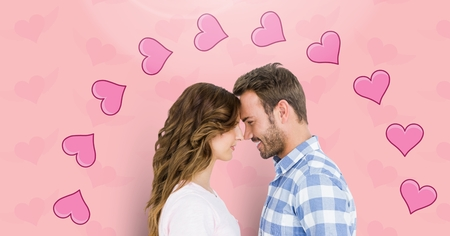 long hair boy: Digital composite of loving couple on graphic background Stock Photo