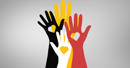 against white: Vector illustration of hands with heart shapes against white background