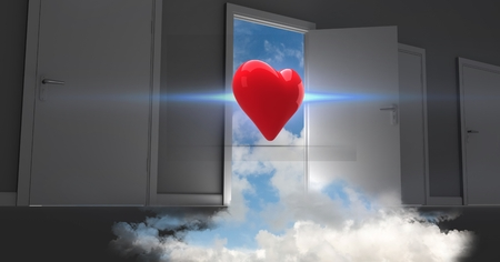 cropped: Digitally generated image of open door to sky with heart shape